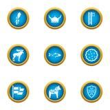 Icônes de Viking réglées, style plat illustration libre de droits