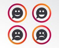 Icônes de visage de sourire de bulle de la parole Heureux, triste, cri illustration libre de droits