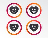 Icônes de visage de sourire de coeur Heureux, triste, cri illustration libre de droits