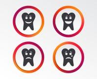 Icônes de visage de sourire de dent Heureux, triste, cri illustration stock