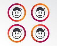 Icônes de visage de sourire de frappeur Heureux, triste, cri illustration stock
