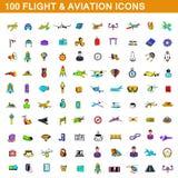 100 icônes de vol et d'aviation ont placé, style de bande dessinée illustration libre de droits