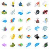 Icônes de volcan réglées, style isométrique Photos stock