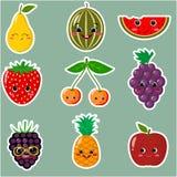 Icônes des autocollants souriants de fruit avec un contour blanc dans l'ensemble Photographie stock