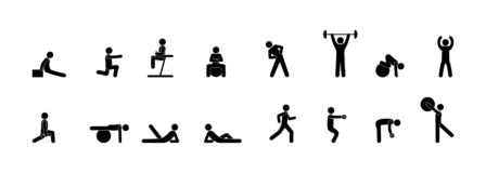 Icônes des personnes dans les exercices de gymnase, de forme physique, de yoga et de force, ensemble de silhouette d'isolement illustration libre de droits
