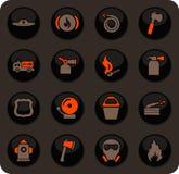 Icônes des sapeurs-pompiers réglées illustration stock