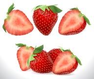 Icônes douces réalistes de vecteur de fruit de la baie 3D de fraise réglées Illustration courante réaliste illustration de vecteur