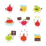 Icônes drôles des personnages de dessin animé pour Rosh Hashanah, vacances juives pot, pommes et grenades de miel Vecteur Photos libres de droits