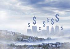 Icônes du dollar au-dessus de ville Photos libres de droits
