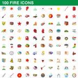 100 icônes du feu réglées, style de bande dessinée illustration de vecteur