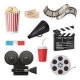 Icônes du film 3d Le clapet et le mégaphone stéréo de maïs éclaté en verre de cinéma d'appareil-photo pour la production cinémato illustration de vecteur