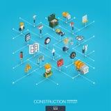 Icônes du Web 3d intégrées par construction Concept isométrique de réseau de Digital Photos libres de droits