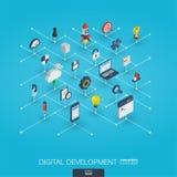 Icônes du Web 3d intégrées par développement Concept isométrique de réseau de Digital Illustration de Vecteur