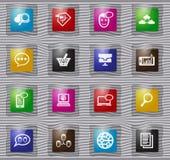 Icônes en verre de réseau analytique et social de données réglées illustration libre de droits
