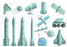 Icônes ensemble, style de technologie de recherche spatiale de bande dessinée illustration de vecteur