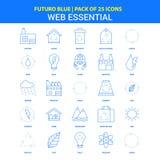 Icônes essentielles de Web - paquet bleu de 25 icônes de Futuro illustration de vecteur