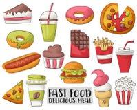 Icônes et objets de bande dessinée d'aliments de préparation rapide réglés Tiré par la main Photo stock