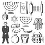 Icônes et symboles de vecteur de Judiaism illustration libre de droits