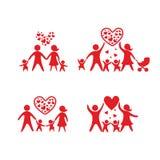 Icônes heureuses de famille réglées Illustration de personnes illustration de vecteur