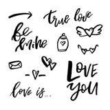 Icônes heureuses de jour de valentines avec la calligraphie sur le blanc Calibre f Image libre de droits