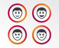 Icônes humaines de visage de sourire Heureux, triste, cri illustration de vecteur