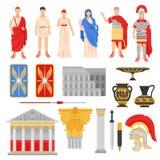 Icônes impériales de Rome réglées illustration de vecteur