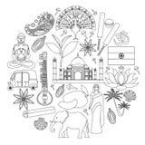 Icônes indiennes de vecteur Découpe, course, style d'ensemble Image stock