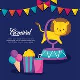 Icônes infographic de célébration de carnaval illustration libre de droits