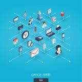 Icônes intégrées du Web 3d de travail de bureau Concept interactif isométrique de réseau de Digital illustration libre de droits