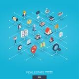 Icônes intégrées du Web 3d d'immobiliers Concept isométrique de réseau de Digital illustration de vecteur