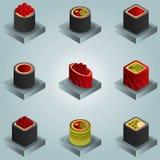 Icônes isomériques de gradient de couleur de sushi Image libre de droits