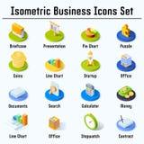 Icônes isométriques d'affaires réglées illustration stock