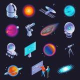 Icônes isométriques d'astrophysique illustration stock