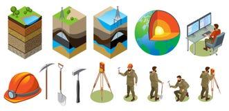 Icônes isométriques d'exploration de la terre illustration libre de droits
