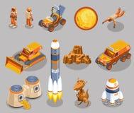 Icônes isométriques d'exploration d'espace illustration de vecteur