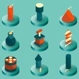 Icônes isométriques de couleur de pyrotechnie illustration libre de droits
