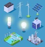 Icônes isométriques de courant électrique Générateur d'énergie, panneaux solaires et centrale thermique, station d'hydroélectrici illustration de vecteur