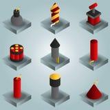 Icônes isométriques de gradient de couleur de pyrotechnie illustration stock