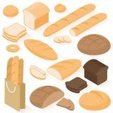 Icônes isométriques de pain Images stock