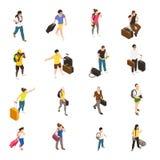 Icônes isométriques de personnes de voyage illustration libre de droits