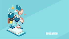 Icônes isométriques de Web de l'éducation 3d illustration de vecteur