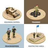 Icônes isométriques du service militaire 4 illustration libre de droits