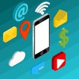 Icônes isométriques plates de vecteur du concept 3d de media social Bureau, causerie, vidéo, appareil-photo, téléphone, icône illustration stock