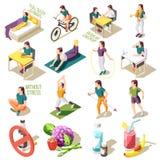 Icônes isométriques saines de style de vie illustration stock