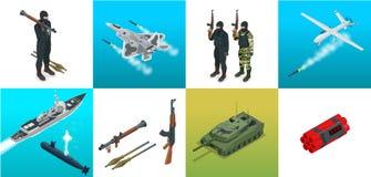 Icônes isométriques sous-marin, avion, soldats Ensemble de transport à plat de haute qualité militaire de véhicules militaires d' Images stock