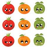 Icônes/légumes et fruits d'autocollants avec des émotions Images libres de droits