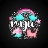 Icônes magiques de griffonnage mignon en forme ronde colorée Magie mignonne de vecteur d'amusement avec l'arc-en-ciel, nuages, li illustration libre de droits