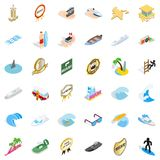 Icônes marines réglées, style isométrique illustration libre de droits
