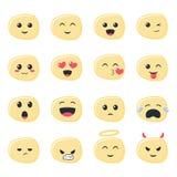 Icônes mignonnes d'Emoji réglées, émoticônes images libres de droits