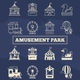 Icônes minces de ligne et de silhoette de Luna Park réglées illustration stock